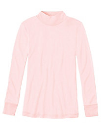 Ladies' Long Sleeve Mock Neck Top in Lightweight Washable Silk