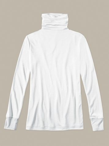 Ladies' Long Sleeve Funnel Neck Top in Lightweight Washable Silk - Image 1 of 4