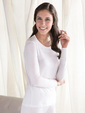 Ladies' Long Sleeve Scoop Top in Lightweight Washable Silk - Image 1 of 5
