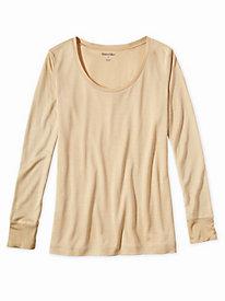 Ladies' Long Sleeve Scoop Top in Lightweight Washable Silk
