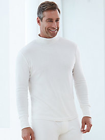 Men's Long Sleeve Mock Neck Top in Heavyweight Washable Silk
