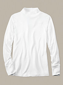 Men's Long Sleeve Mock Neck Top in Mid-weight Washable Silk