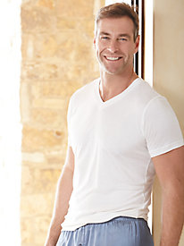 Men's Short Sleeve V-Neck Top in Mid-weight Washable Silk