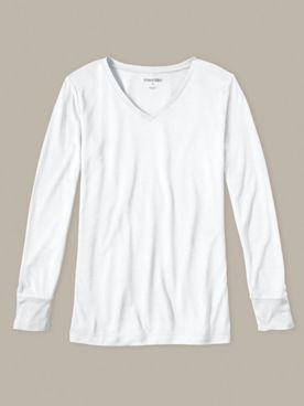Ladies' Long Sleeve V-neck Top in Heavyweight Washable Silk