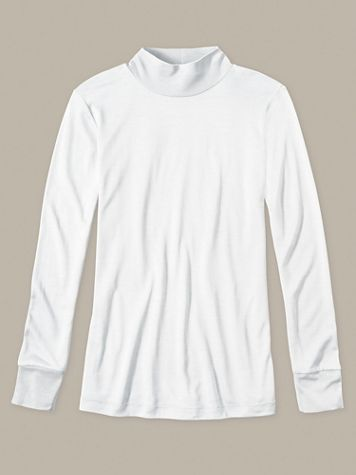 Ladies' Long Sleeve Mock Neck Top in Heavyweight Washable Silk - Image 1 of 4