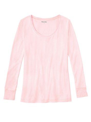 Ladies' Long Sleeve Scoop Top in Heavyweight Washable Silk - Image 1 of 4