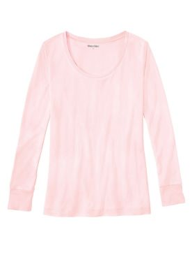 Ladies' Long Sleeve Scoop Top in Heavyweight Washable Silk
