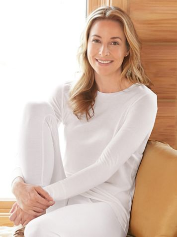 Ladies' Long Sleeve Crewneck Top in Mid-weight Washable Silk - Image 1 of 2