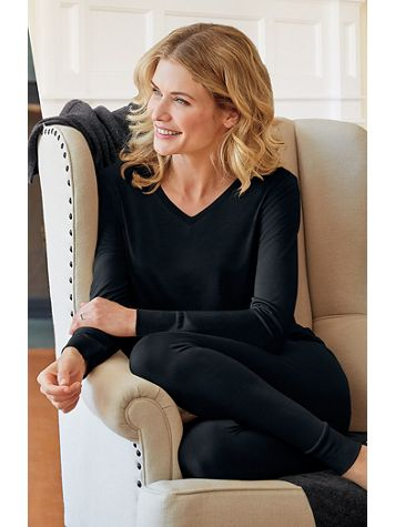 Ladies' Long Sleeve V-neck Top in Mid-weight Washable Silk