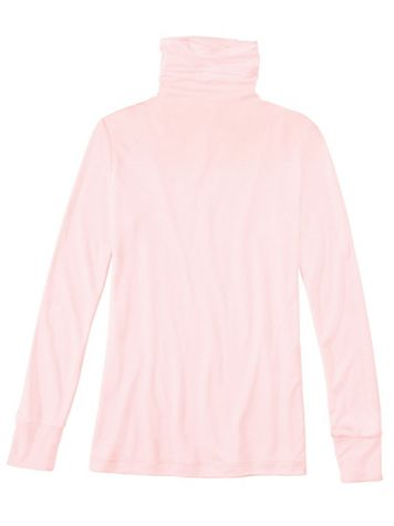 Ladies' Long Sleeve Funnel Neck Top in Mid-weight Washable Silk - Image 1 of 5