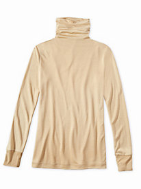Ladies' Long Sleeve Funnel Neck Top in Mid-weight Washable Silk