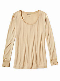 Ladies' Long Sleeve Scoop Top in Mid-weight Washable Silk