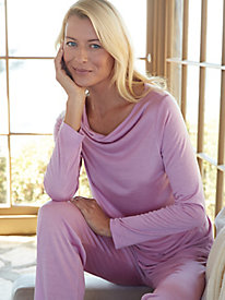 Silk Modal Cowl Neck Pajama Top
