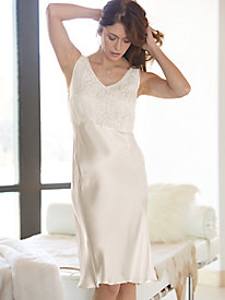 Washable Silk Charmeuse Lace Bodice Gown