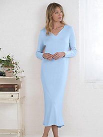 Long Sleeve Notched Neck Nightgown