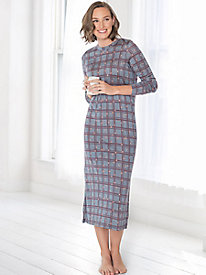 Long-sleeve silk modal print nightgown