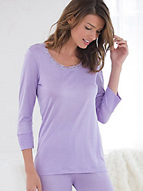 Mid-Weight Solid 3/4 Sleeve Scoopneck