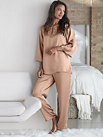 Charmuese Tunic Pajama Set with Lace