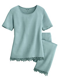 Silk Modal Short-Sleeve Pajama Top with Lace