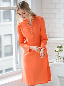 Linen Cotton Long-Sleeve Nightgown