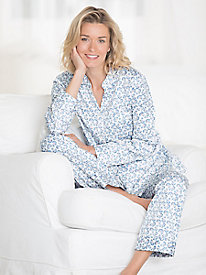Brushed Back Satin Long Sleeve Button Front Pajamas