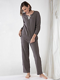 Aria Brushed Cotton Knit Pajama Set
