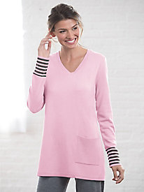 Wool Cashmere V Neck Tunic