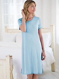 Silk Modal Short Sleeve V Neck Nightgown