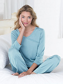 Silk Modal 3/4 Sleeve Surplice Pajama Top
