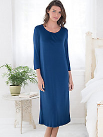 Spun Silk Modal 3/4 Sleeve Gathered Neck Nightgown