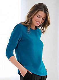 Jewel Neck Velour Top