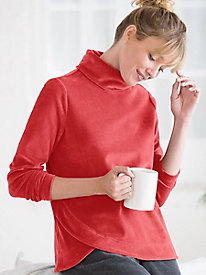 Funnelneck Velour Top