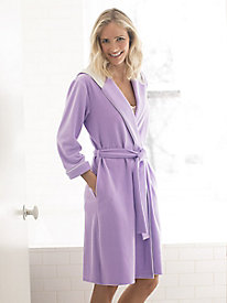 Microfleece Short Hooded Robe with Stretch