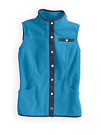 Microfleece Vest with Twill Trim