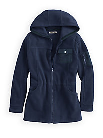 Microfleece Hooded Jacket with Twill Trim