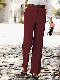 Stretch Wool Gabardine Fly-Front Trousers