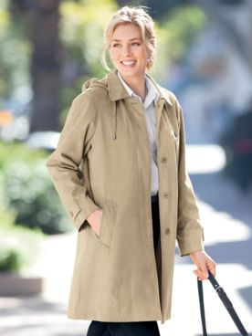 Three-Quarter Length Microsuede Balmacaan Coat