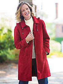 Three-Quarter Length Microsuede Balmacaan Coat