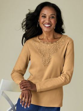 Lace Medallion Knit Top