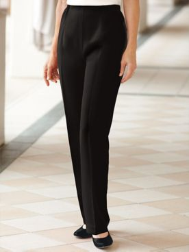 Herringbone Straight Leg Pull-On Pants
