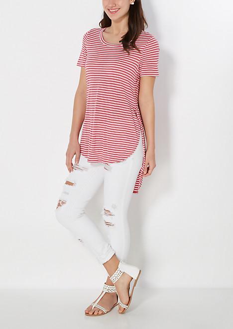 Pink Striped Split Seam Tunic Tee
