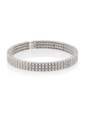 18 K White Gold & Diamond Stretch Bracelet by Zydo