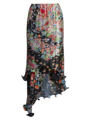 Asymmetric Pleated Floral Wave Skirt by Givenchy
