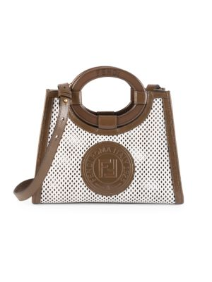 Runaway Perforated Leather Shopper by Fendi