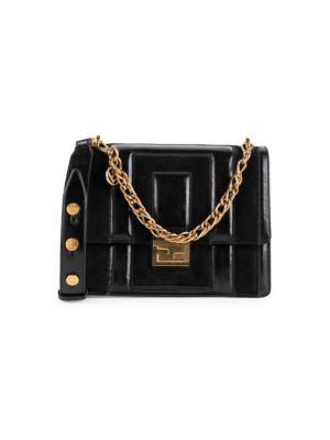 Kan U Embossed Leather Shoulder Bag by Fendi