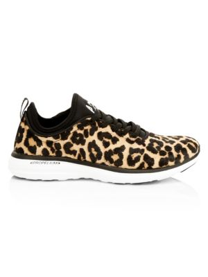 Women's Tech Loom Leopard Print Calf Hair Sneakers by Apl