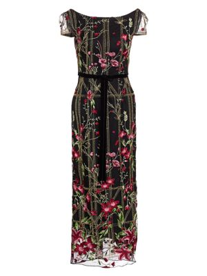 Embroidered Floral Cocktail Dress by Marchesa Notte