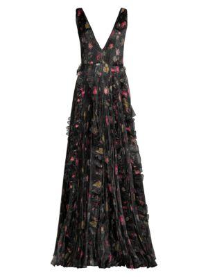 Nicole Ruffled Floral Gown by Flor Et. Al