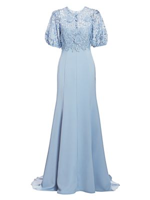 Floral Laser Cut Puff Sleeve Gown by Lela Rose