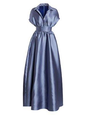 Duchess Satin Collared Ball Gown by Lela Rose